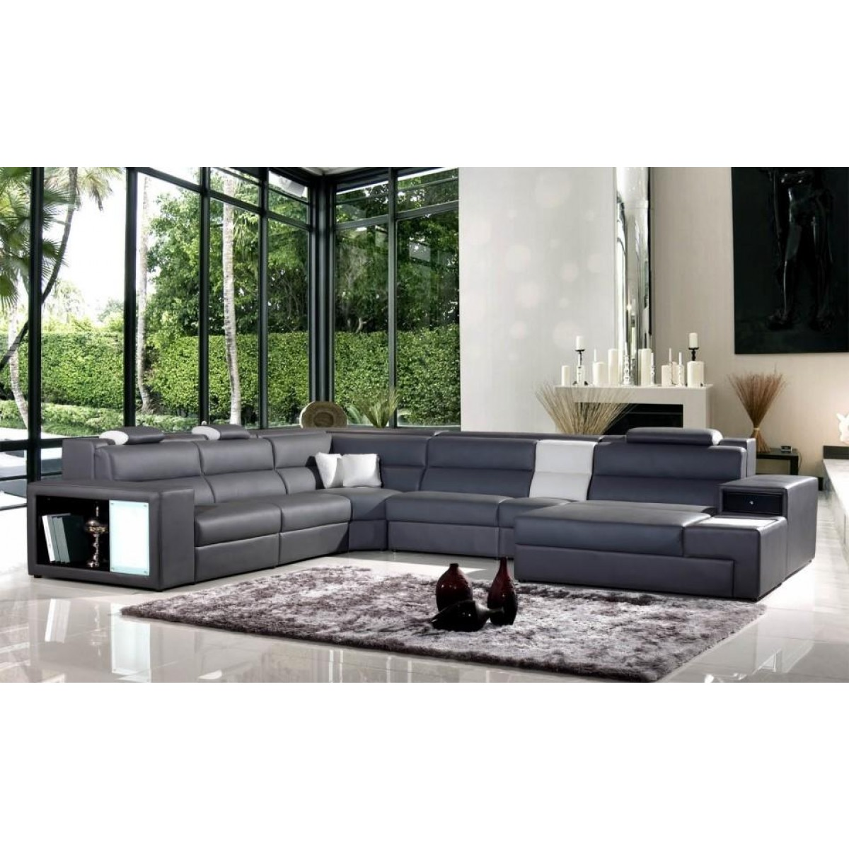 grey contemporary leather sectional sofa modern furniture luxury
