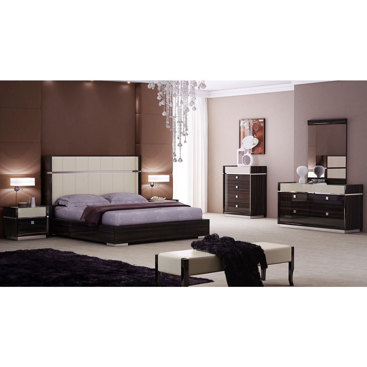 American Eagle Furniture B P100 Brown/Ivory Ebony King Size Sleigh Bed  Bedroom Set