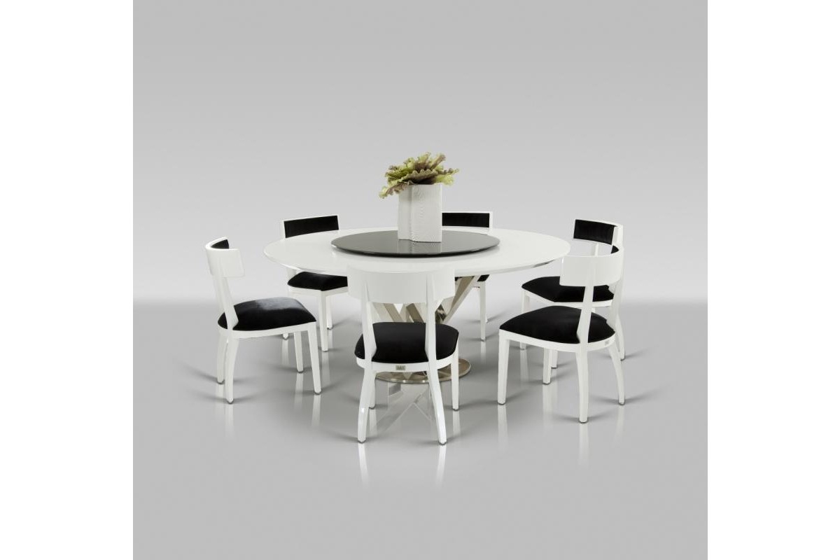 modern round white dining table with lazy susan round white kitchen table Modern Round White Dining Table