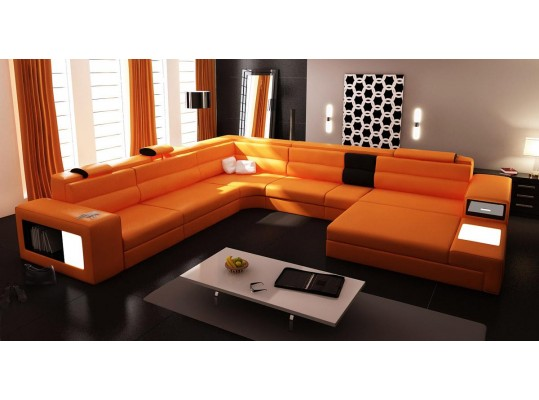 Polaris Orange Italian Bondet Leather Sectional Sofa