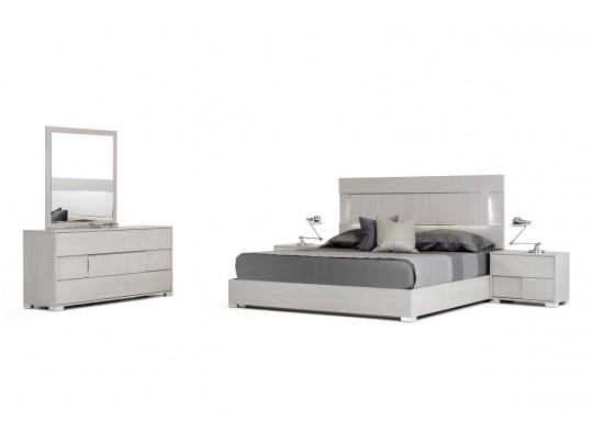 Modern Style Eva Italian Modern Grey Bed W / LED LIGHT