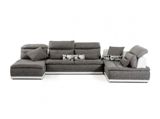Panorama Italian Modern Grey Fabric and White Leather Sectional Sofa