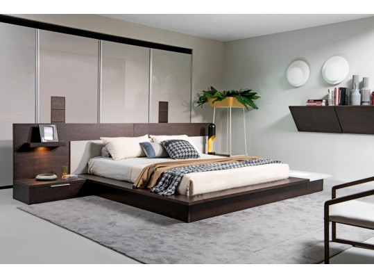 Modrest Torino Contemporary Brown Oak & Grey Platform Bed w/ Lights