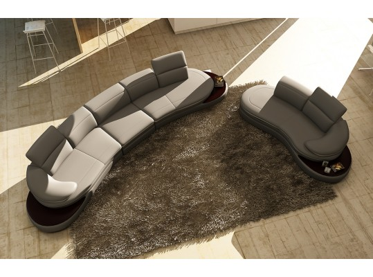 Modern Leather Curved+Sectionals 108B Divani Casa 109 Sofa Chaise with music player station