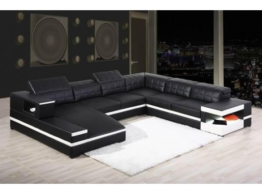 1201 - Modern Bonded Leather Sectional Sofa