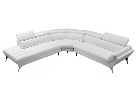 White Modern Top Grain Italian Bondet Leather Sectional