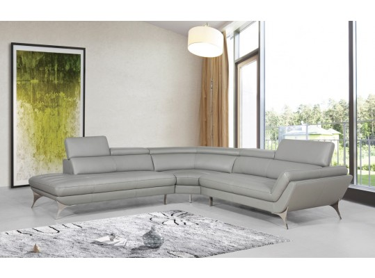 Luxury Comfortable Italian  Modern Sofa Sectional  Grey Leather