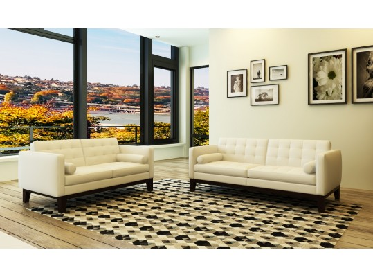 Transitional Classic Style 3 Piece Living Room Set Full Italian Genuine Leather