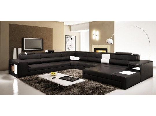Polaris  Black Contemporary Leather Sectional Sofa 5022 Black