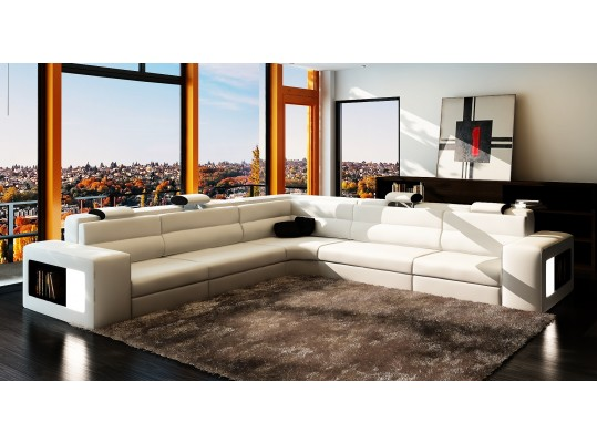 Modern Italian Contemporary Leather Sofa Sectional Lyxury Style white color