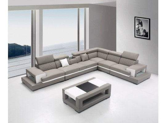 Bernal Extra Plush Sofa Sectional in 2-Tone Leather w/ Coffee Table
