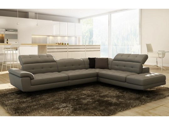 Divani Casa 992 Modern Grey Italian Leather Sectional Sofa