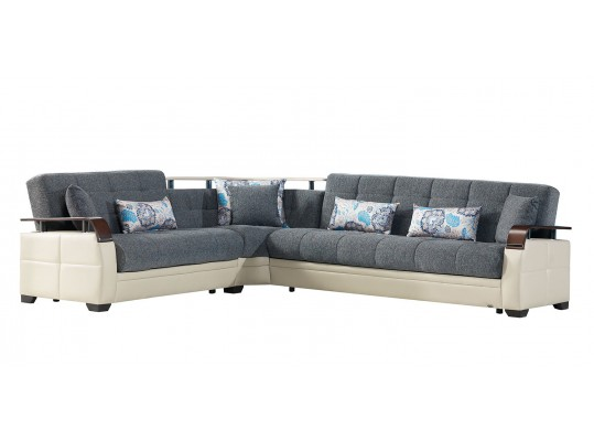Contemporary sectional with sleeper and storage