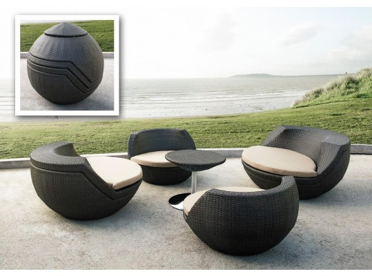 Ovum - Modern 5 Piece Egg Shape Patio Set
