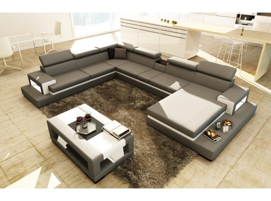 Divani Casa Modern Italian Sectional 5081B Grey and White Leather Sectional Sofa