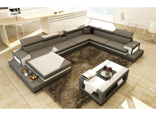 Divani Casa 5081B Grey and White Leather Sectional Sofa