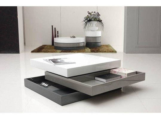 Trio-2 - Lacquer 3 Tone Square Coffee Table