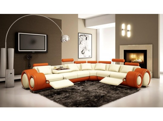 4087 - Orange and Off-White Bonded Leather Sectional Sofa