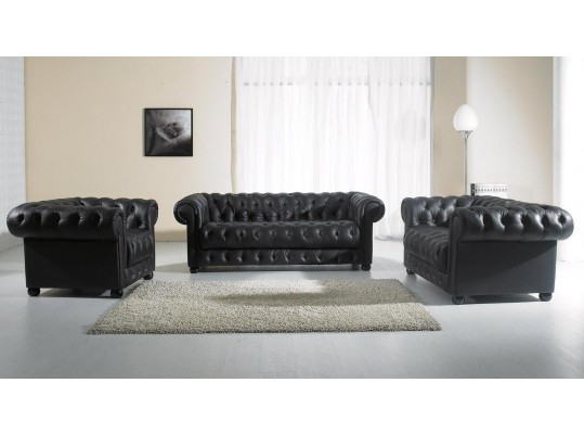 Paris-2 Black Tufted Leather Sofa Set