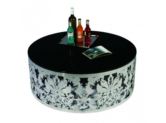 Modern Stainless Steel and Glass Top Coffee Table