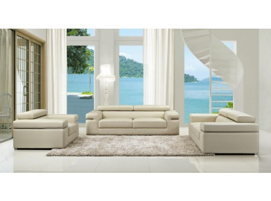 Divani Casa Atlantis Modern Light Grey Bonded Leather  3 ps Sofa Loveseat Chair
