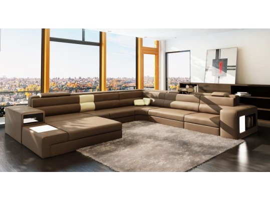 Polaris - Italian Leather Sectional Sofa in Brown