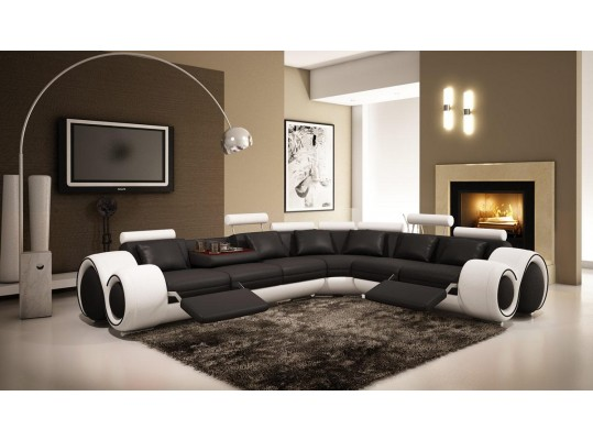 4087 Modern Bonded Leather Sectional Sofa with Recliners