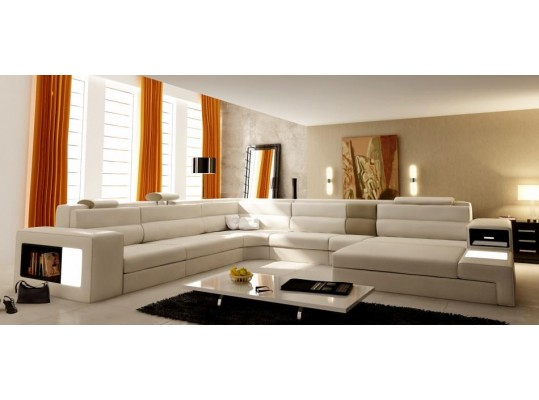 Modern Italian Bondet  Leather Sectional   Polaris Living Room Contemporary Sectional Modern Style