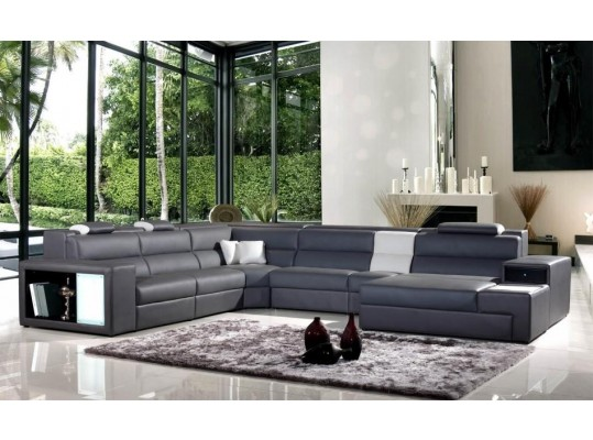 Polaris Modern Grey Italian Bonded Leather Sectional sofa 5022