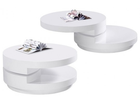 TR-10 Modern Round Swivel Coffee Table white color