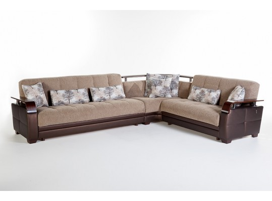 Modern contemporary sofa sectional with slipper Bed  and storage in side