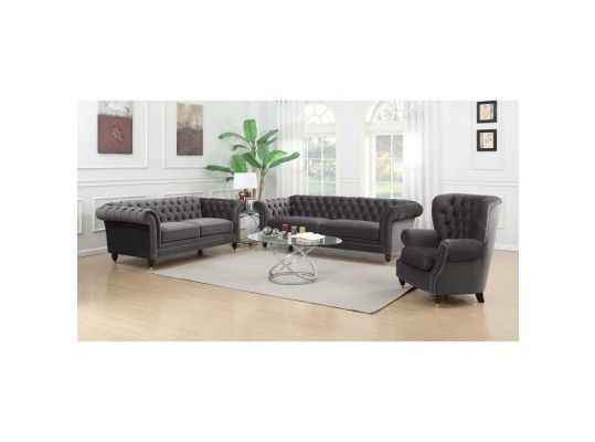 Emerald Home Capone Tufted Fabric Sofa Chesterfield Style by Emerald Home