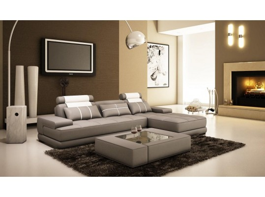 Bonded LEATHER SECTIONAL SOFA MODERN CONTEMPORARY LUXURY STYLE
