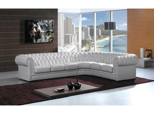 Paris Transitional Tufted White Leather Sectional