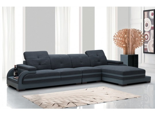 Modern Sectional Divani Casa 5132 Upholstered in Navy Blue Fabric with Grey Leather triming