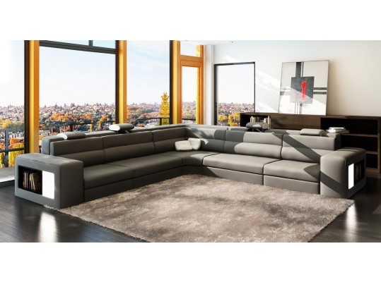 Luxury Modern  Italian Leather Sofa  Sectional  in Gray