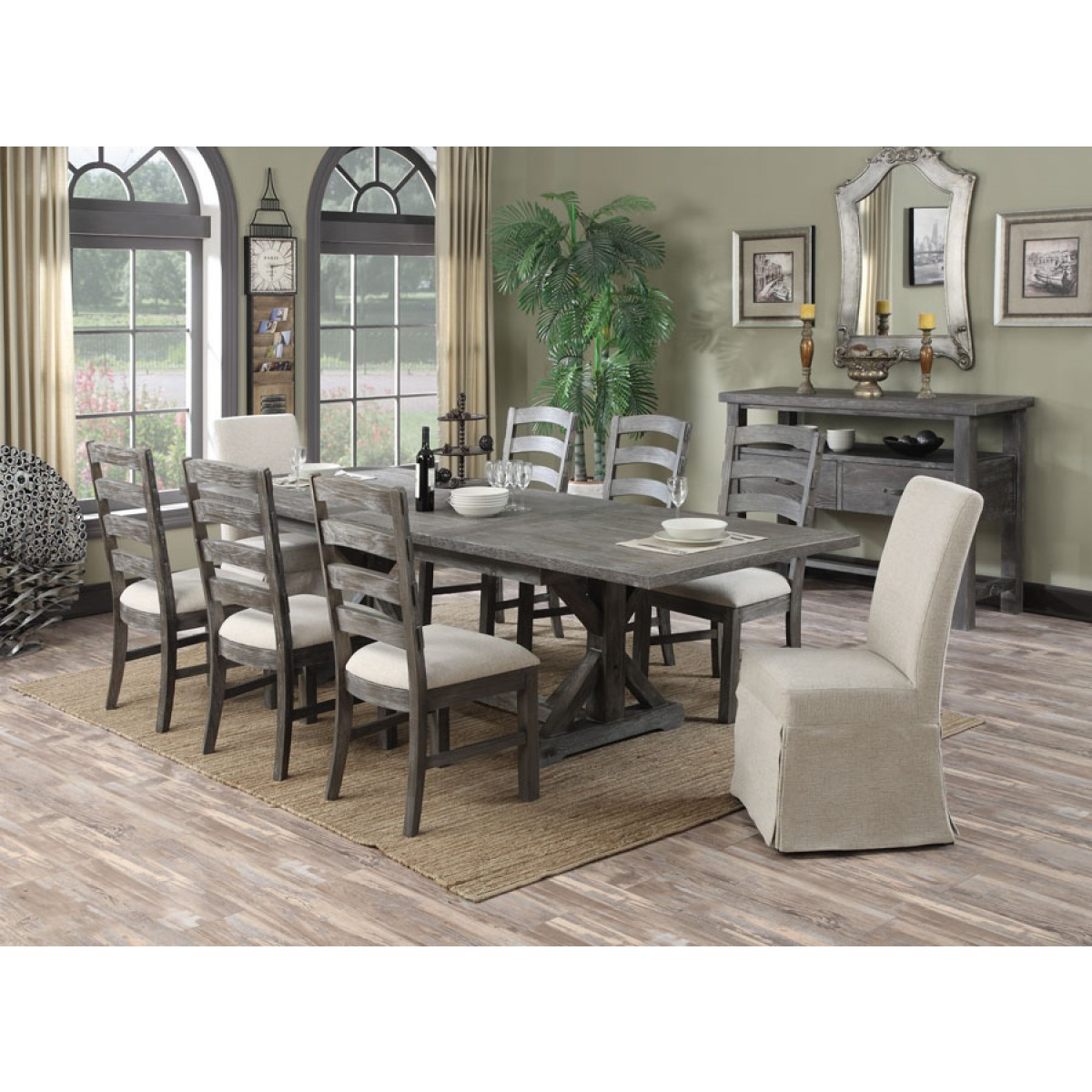 Rustic Urban Style 7pc Dining Set Mod Paladin