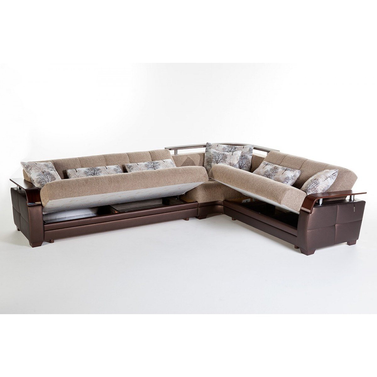 Modern Convertible Sofa Sectional w/ Storage Underneath
