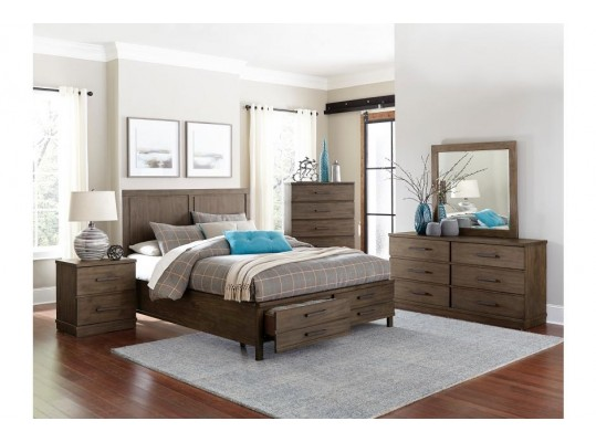 Vienna Bracco Brown 4 Piece Queen Platform Storage Bedroom Set