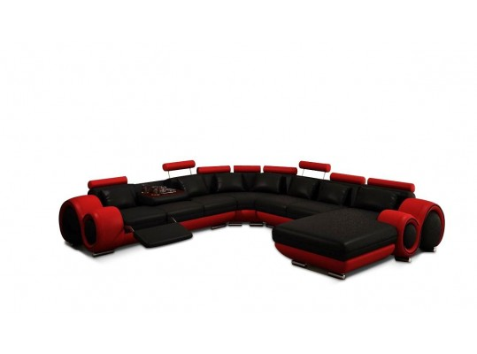 Modern Black and Red Bonded Leather Sectional Sofa