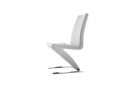 Y034 - Modern Pattern-Stitched White Leatherette Dining Chair