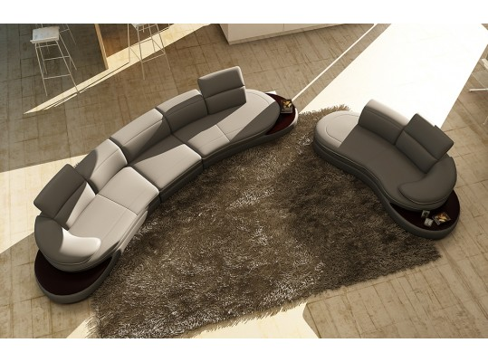 Divani Casa 108 Modern Gray  Leather Sectional & Chaise