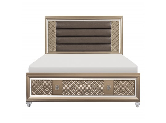 Queen Bed  Platform Bed with LED Lighting and Storage Footboard