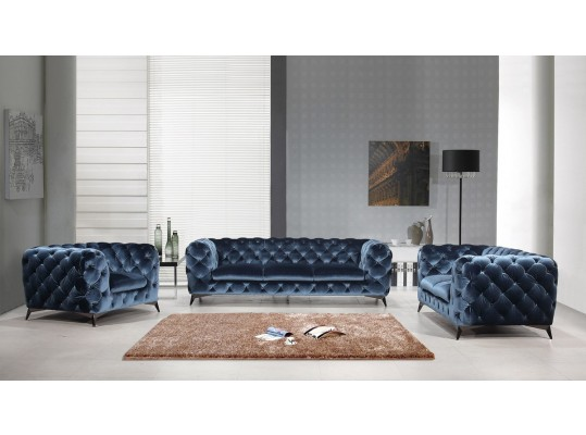 Glamour Style Delilah Italian Luxury 3 PC Living Room Set