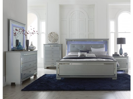 Alonza Collection Glamour 5 PC Bedroom Set W/ LED Light