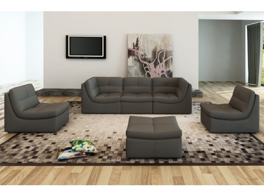 Modular Grey Cloud Leather Sofa Sectional