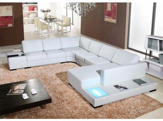 2242 Modern White Leather Sectional Sofa