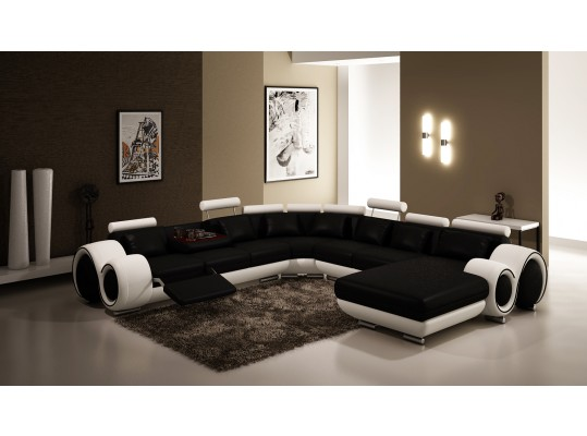Modern Style Sofa Sectional 2-Tone Black & White