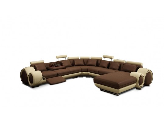 Contemporary Brown and Beige Bonded Leather Sectional Sofa
