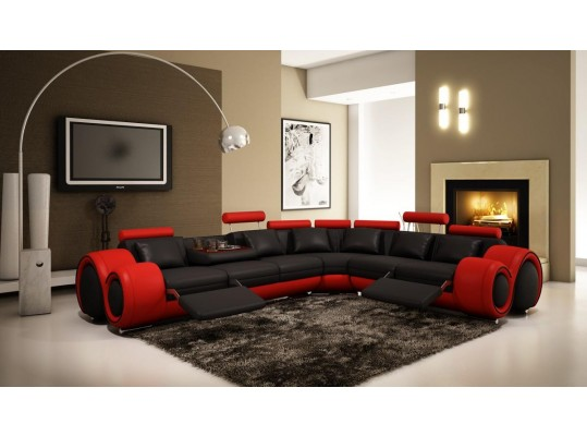 4087-Red and Black  Leather Sectional Sofa with Recliners
